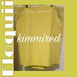 Eloquii Chartreuse/White PolkaDot Skirt~20W~WORN👆